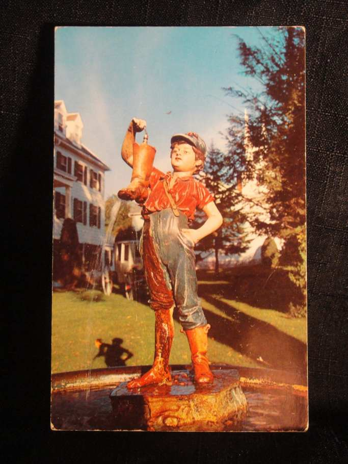 boy with boot shadow postcard